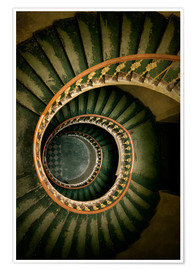 Póster Spiral staircase in green and brown tones