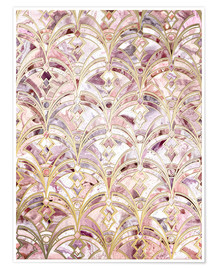 Póster Dusty Rose and Coral Art Deco Marbling Pattern