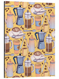 Cuadro de aluminio  Coffee Love on Yellow - Micklyn Le Feuvre
