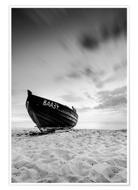 Póster Lonely Boat - Black/White | Rügen | Germany