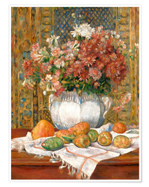 Póster Still Life with Flowers and Prickly Pears