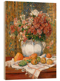 Cuadro de madera  Still Life with Flowers and Prickly Pears - Pierre-Auguste Renoir
