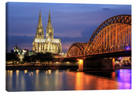 Lienzo  Cologne Cathedral and Hohenzollern Bridge at night - Oliver Henze