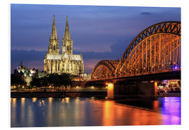 Cuadro de PVC  Cologne Cathedral and Hohenzollern Bridge at night - Oliver Henze