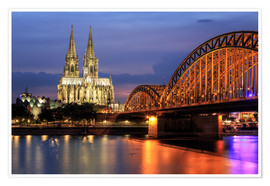 Póster  Cologne Cathedral and Hohenzollern Bridge at night - Oliver Henze
