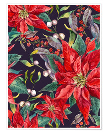 Póster  Christmas floral pattern