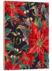 Cuadro de madera  Christmas floral pattern