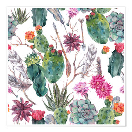 Póster  Exotic cactus pattern