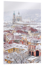 Cuadro de metacrilato  winter roofs of Ledebursky palace and St. Nicolas church, Prague