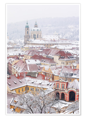 Póster winter roofs of Ledebursky palace and St. Nicolas church, Prague