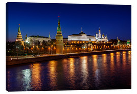 Lienzo  Moscow Kremlin and Vodovzvodnaya tower at night