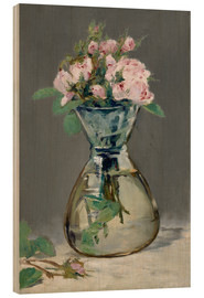 Cuadro de madera  Roses in a vase - Edouard Manet