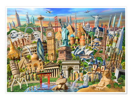 Póster  World Landmarks Collection - Adrian Chesterman