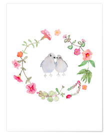 Póster  Wreath with love birds - Verbrugge Watercolor