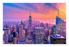 Póster New York City Colorfull Sunset