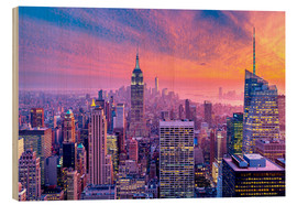 Cuadro de madera  New York City Colorfull Sunset - Sascha Kilmer