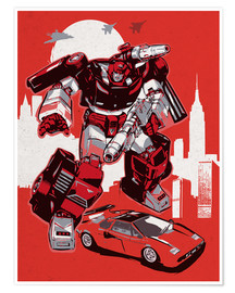 Póster  alternative sideswipe retro transformers art print - 2ToastDesign