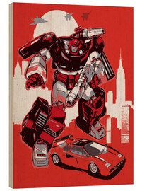 Cuadro de madera  alternative sideswipe retro transformers art print - 2ToastDesign