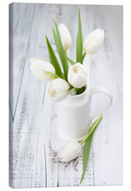 Lienzo  White tulips on whitewashed wood