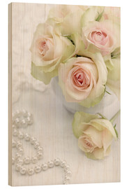Cuadro de madera  Pastel-colored roses with pearls