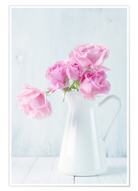 Póster Pink roses in white jug