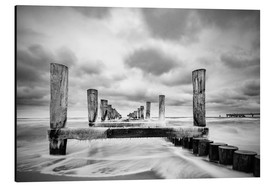 Cuadro de aluminio  Groynes on the Baltic Sea coast in Zingst, Germany - Rico Ködder