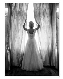 Póster Elegant bride at big window