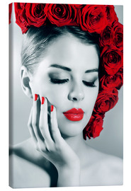 Lienzo  Rose lady with red lips