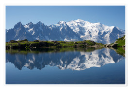 Póster  Lake with Mont Blanc massif