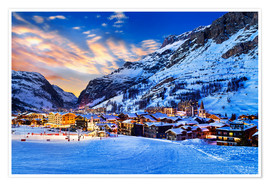 Póster Val d'Isere at sunset