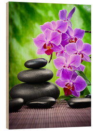 Madera  Zen basalt stones and orchid