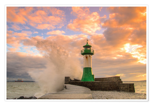 Póster Evening at the lighthouse