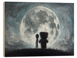 Cuadro de madera  In my dreams you always bring me to the Moon - Adrian Borda