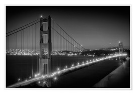 Póster Evening Cityscape of Golden Gate Bridge