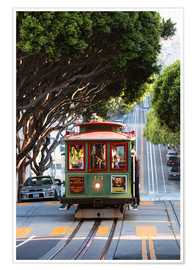 Póster  Cable tram in a street of San Francisco, California, USA - Matteo Colombo