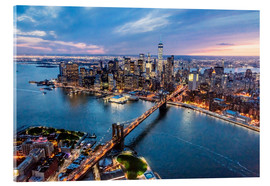 Cuadro de metacrilato  Aerial view of Brooklyn bridge and lower Manhattan, New York, USA - Matteo Colombo