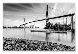 Póster Hamburg | Köhlbrand bridge (black & white)