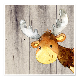Póster  4 Friends - Forest Animals - Moose - UtArt