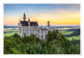 Póster  Neuschwanstein Castle at sunrise in summer - Michael Valjak