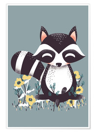 Póster  Animal friends - The raccoon - Kanzi Lue