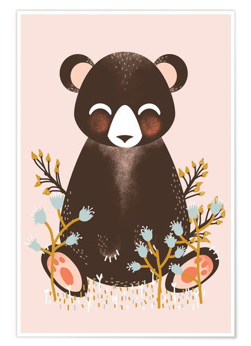 Póster Animal friends - The bear pink
