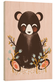 Cuadro de madera  Animal friends - The bear pink - Kanzi Lue