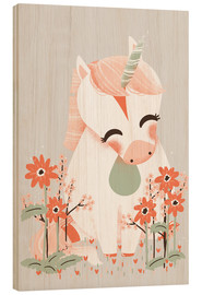 Cuadro de madera  Animal friends - The unicorn - Kanzi Lue