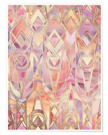 Póster Glowing Coral and Amethyst Art Deco Pattern