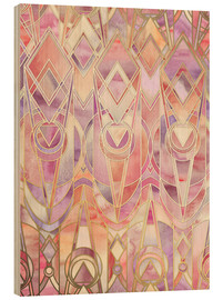 Cuadro de madera  Glowing Coral and Amethyst Art Deco Pattern - Micklyn Le Feuvre