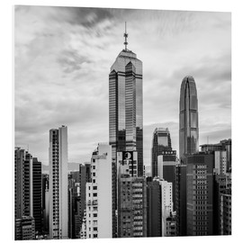 Cuadro de PVC  Houses Sea Hong Kong in black and white - Sebastian Rost