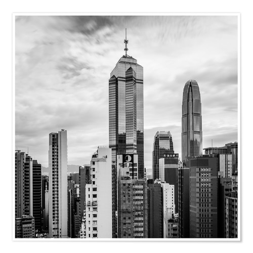 Póster Houses Sea Hong Kong in black and white
