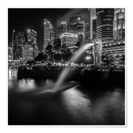 Póster  Merlion Singapore black and white - Sebastian Rost