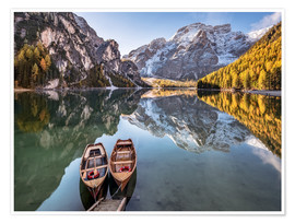Póster  Autumn at Lake Braies (Lago di Braies), Dolomites - Italy - Achim Thomae