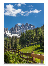 Póster  Villnoess valley with Dolomites in South Tyrol (Italy) - Christian Müringer